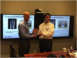 Pictured left is Jabil Circuit, Inc. COO Mr. William D Muir Jr. To his right is Fuji Machine Manufacturing, Ltd. COO, Shinsuke Suhara