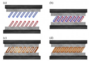 Fig. 2. Low-temperature metallic gluing enabled by well separated metallic nanorods: (a) Two sets of well separated nanorods, which have metallic cores and shell elements that form a eutectic alloy, are brought together, (b) they interpenetrate under fingertip pressure, (c) shell elements meet and form a eutectic alloy, which is liquid at room temperature, and (d) mixing of eutectic liquid with a metallic core leads to formation of three-component alloys that are solid at room temperature.
