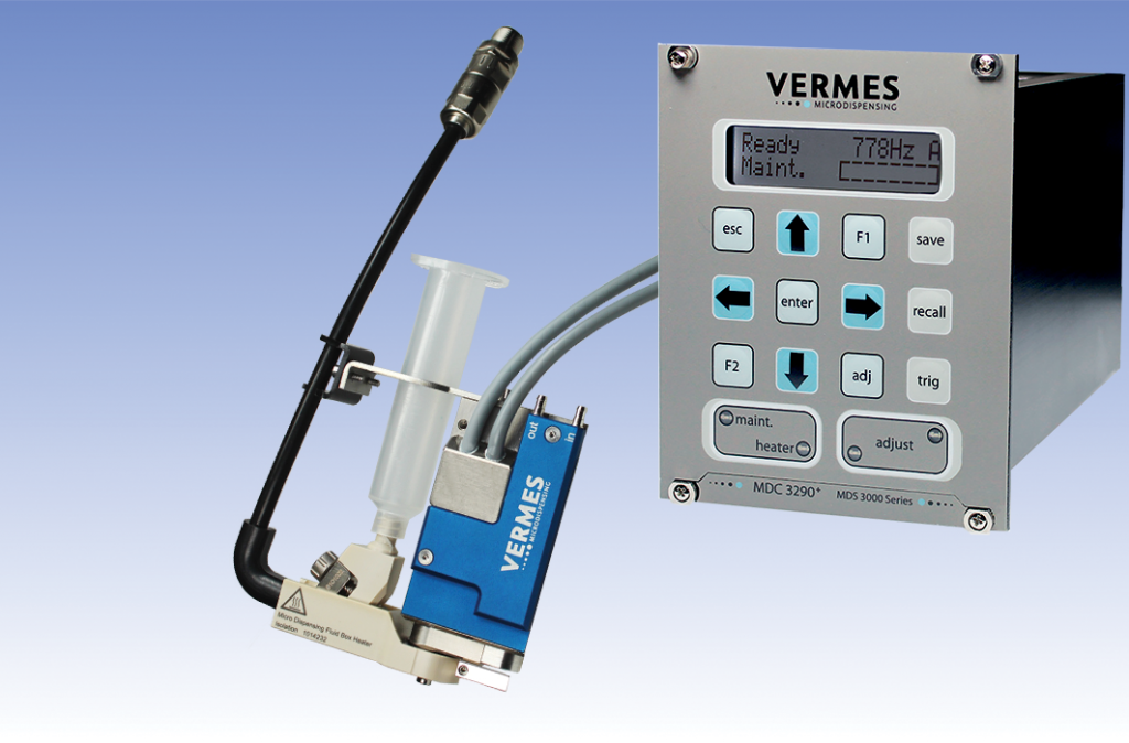 VERMES Microdispensing MDS 3280 Micro Dispensing System with new Bayonet Fluid Box Body for optimal substrate adaptation and fast maintenance.