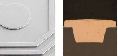Image left: Plating fine lines, Cu pads Image right: Microvia filling, CD ≤ 20 μm
